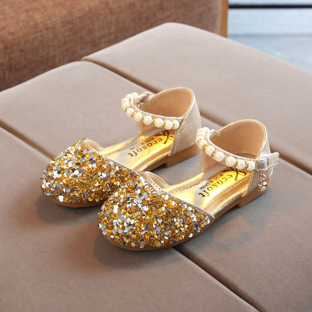 New Fashion Princess Shoes Pink Gold Silver Girls Shoes Glitter Rhinestone Sequins Kids Flats Children Wedding Party Dress Shoes