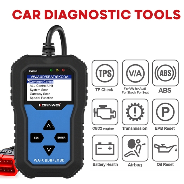 KW350 מקצועי OBD2 סורק אוטומטי קוד קורא עבור פולקסווגן לאאודי עבור סקודה אבחון בדוק מנוע אור סריקת כלי