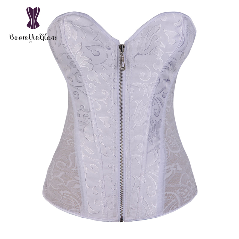 White Women Zip Up Floral Lace Waist Trainer Sexy Bridal   Bustier   Steel Boned   Corset   Size XS-2XL 881#