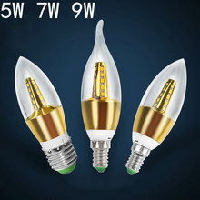 YANGHANG LED E14 Bulb 220V 12W Golden Silver Aluminum Candle Lamp Light For Crystal Chandelier free shipping(China)