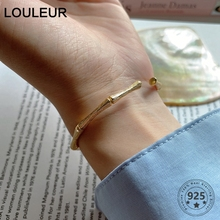LouLeur 925 Sterling Silver Bamboo Bangle High Quality Women Geometric Minimalist Gold Brac