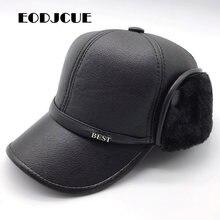 עור מפוצל בייסבול כובע חורף בתוספת קטיפה עיבוי ליי פנג כובע בגיל העמידה כובע גברים של חם מחממי אוזני אבא כובע Gorras