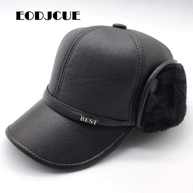 PU skórzana czapka z daszkiem zima oraz aksamitna pogrubienie Lei Feng czapka w średnim wieku kapelusz męska ciepłe nauszniki tata kapelusz Gorras