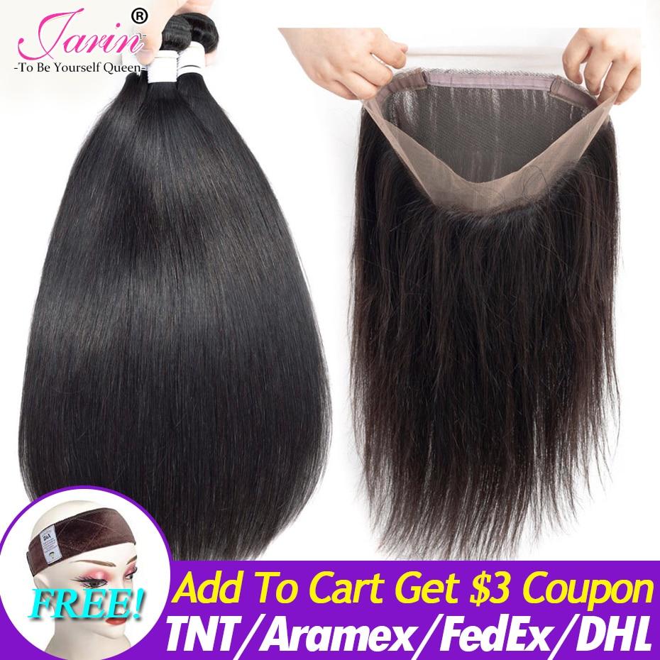 Jarin Peruvian Straight Hair Bundles With 360 Frontal Closure Human Hair 3 Bundles With Lace Closure Remy Hair Extensions