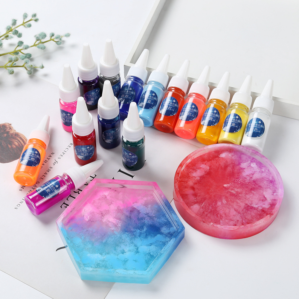10ML Fluid Artist Epoxy Resin Colorant Pigment Dye Resin Pigment DIY Handmade Crafts Art Sets Solid Color AB Resin Paint Dye