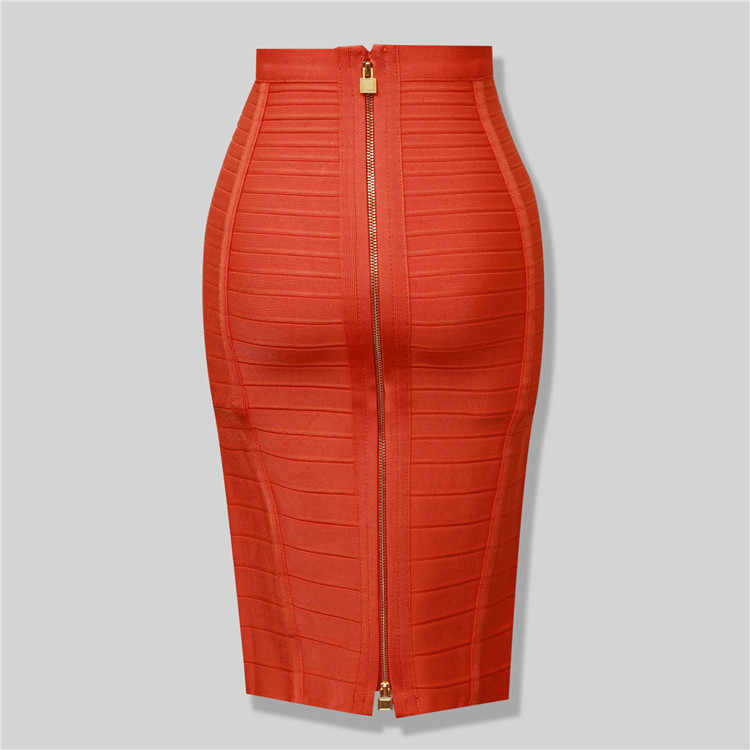High Quality Black Red Blue Orange Zipper Bodycon Rayon Bandage Skirt Day Party Pencil Skirt