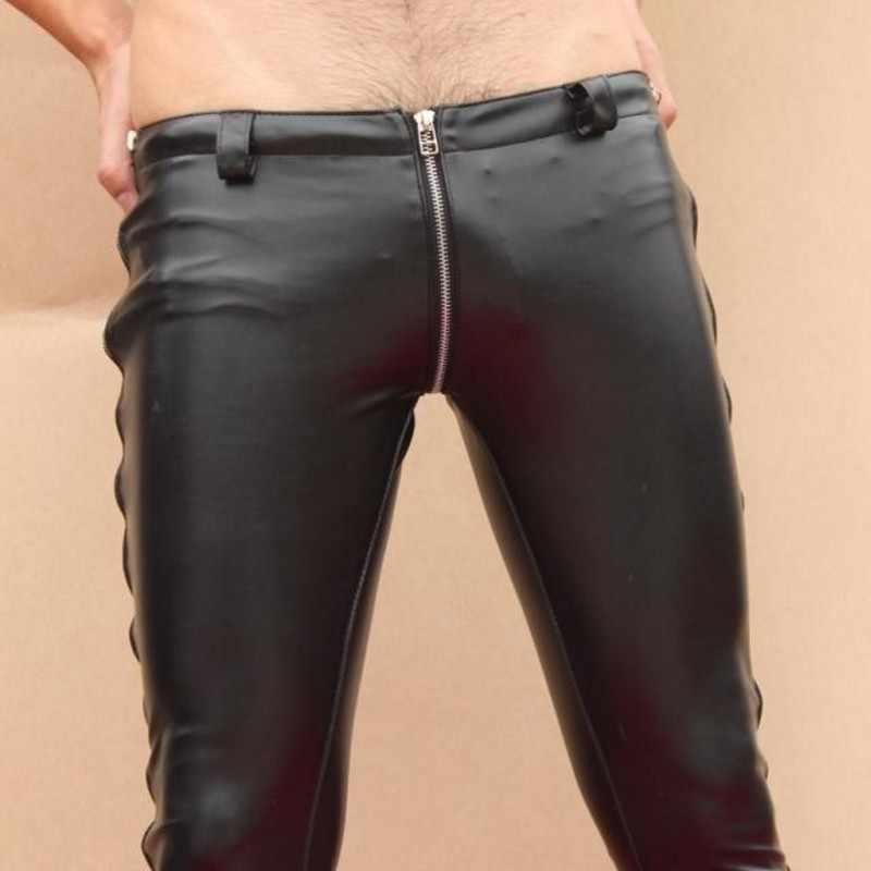 คุณภาพสูงผู้ชายความยาวเต็มซิปดินสอกางเกงกางเกงใหม่ออกแบบ PU หนัง Punk เซ็กซี่ Zip LOW เอวกางเกงใหญ่ขนาดกางเกง