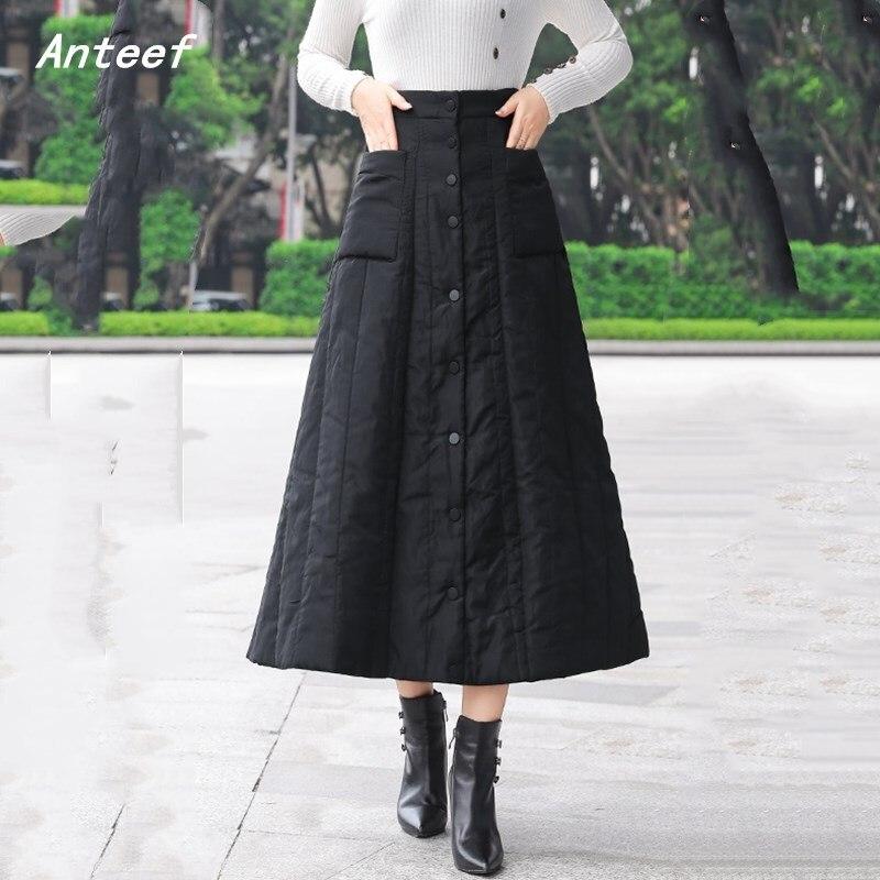 Black Down Cotton Plus Size Vintage 2019 High Waist Clothes Autumn Winter Casual Loose Long Skirts Womens Skirt Women Streetwear