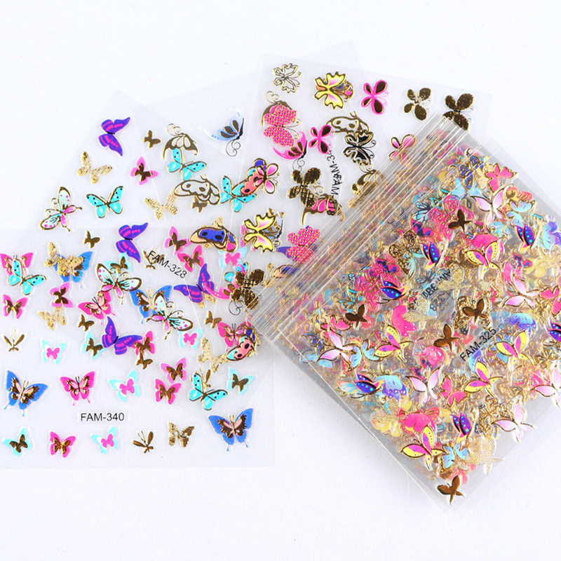 30pcs Gold Silver 3D Nail Art Sticker Hollow Decals Mixed Designs Adhesive Flower Nail Tips Letter Butterfly paper nail