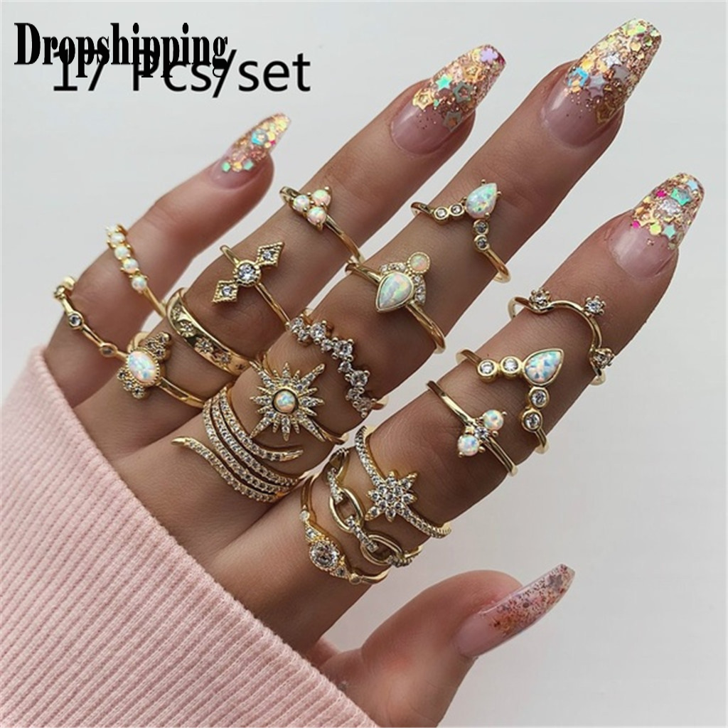 New Bohemian Style Set Ring Jewelry 17 Piece Set Ring Women Girl