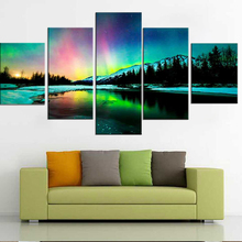 HD Print Wall Art Canvas Painting Modular Poster 5 Panel Colorful Aurora Borealis Frame Modern Home Decor Living Room Pictures
