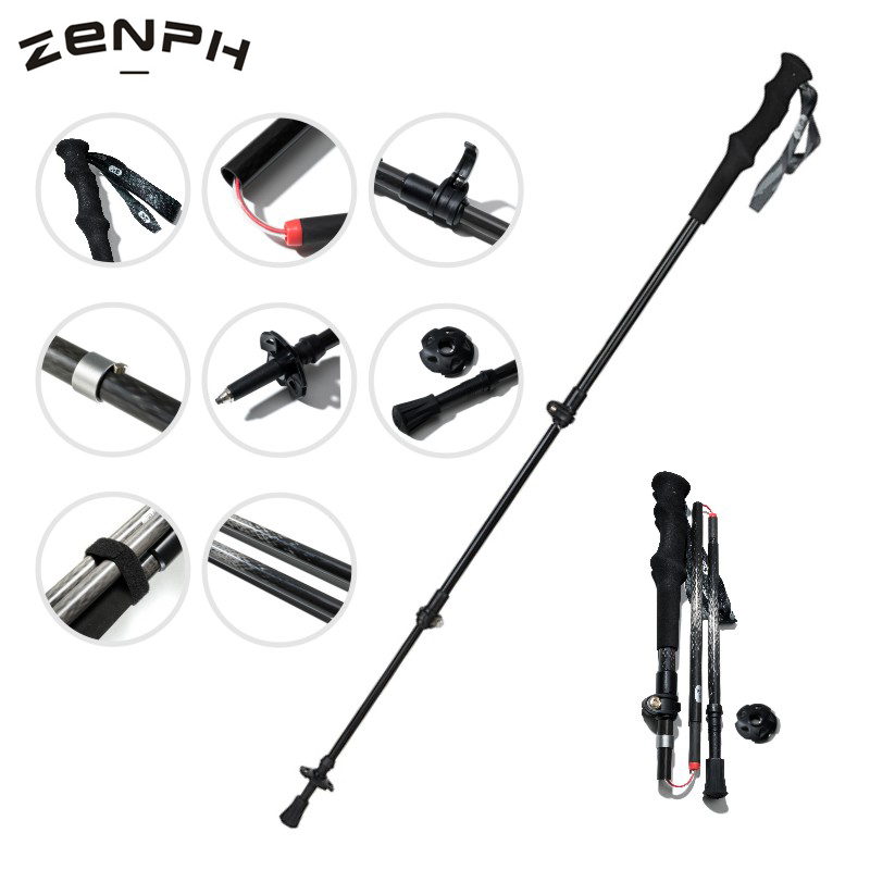 Zenph Trekking Pole Carbon Fiber 5 Sections Folding Telescopic Walking Stick Camping Hiking Outdoor Equipment