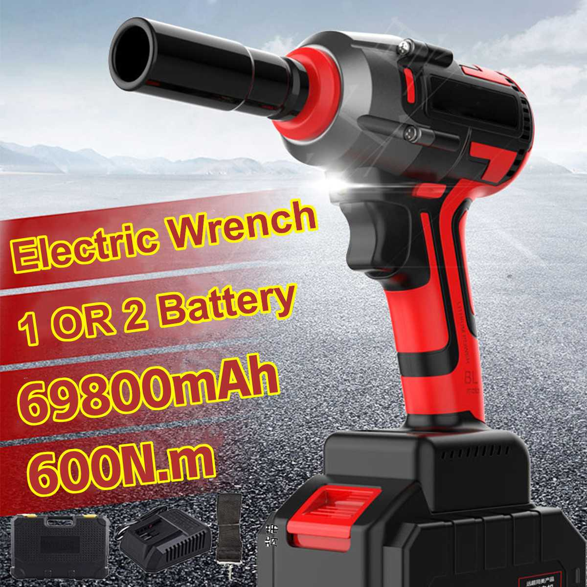 Electric Wrench Impact Brushless Socket Wrench 69800mAh Li Battery 600N.m Torque Impact Wrench 220v Brushless Car Electric Tools