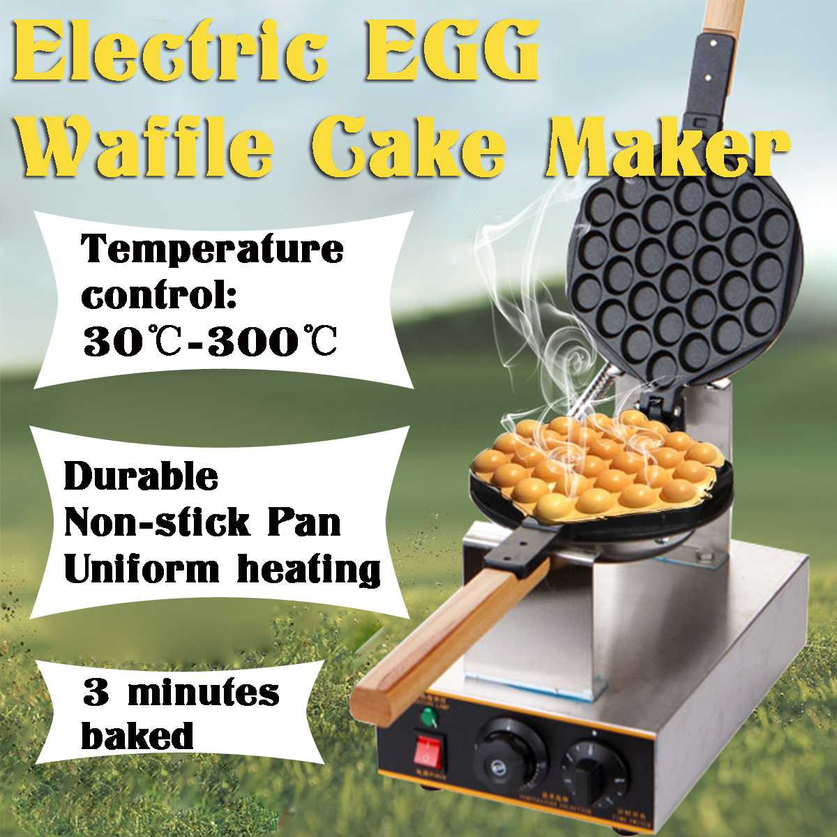 Non-stick 110V Commercial Electric Waffle Maker Waffle Baker Ice Cream Crispy Cone Making Machine Bubble Egg Cake Eggettes Oven