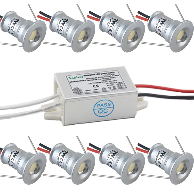Mini Downlight à ampoule à LED 1W 12V IP65, avec adaptateur à pilote IP67, éclairage des points de Sauna, SPA