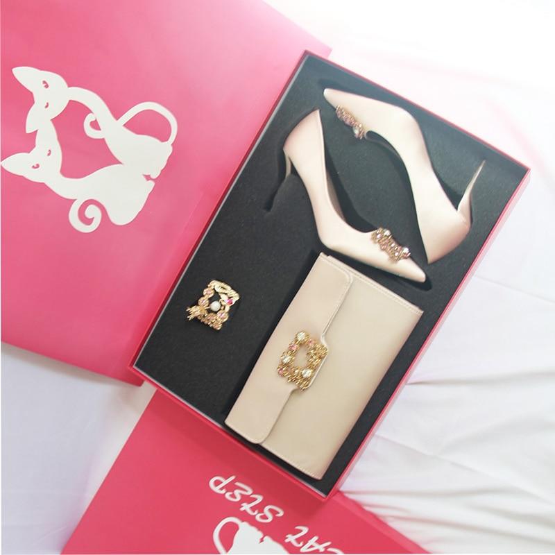 Livraison gratuite 1 paire couleur champagne de luxe pour les fêtes de fiançailles de mariage parti faveur talon haut ou chaussures plates comme cadeau