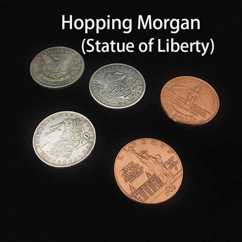 Hopping Morgan (Statue of Liberty) durch Oliver Magie Trick Close Up Magie Springen Morgan Münze Magica Gimmick Prop Magia Profesional