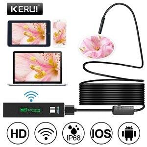 Image 1 - KERUI واي فاي كاميرا صغيرة المنظار HD 1200P IP68 مقاوم للماء كابل الصلب Borescope منظار مزوّد بمنافذ USB ل IOS أندرويد الهاتف الذكي سيارة الكمبيوتر