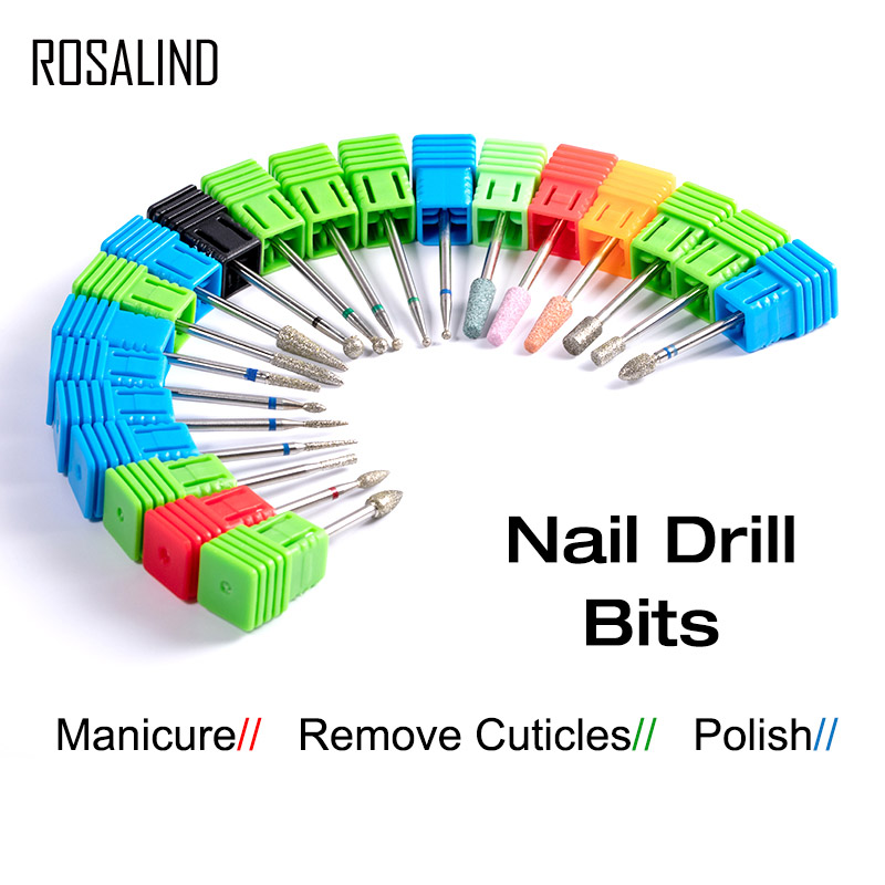 ROSALIND Nail Drill Bits Manicure Machine Cutter Bits For Electric Drill  Nails Accessories Gel Polish Remover Manicure Tools