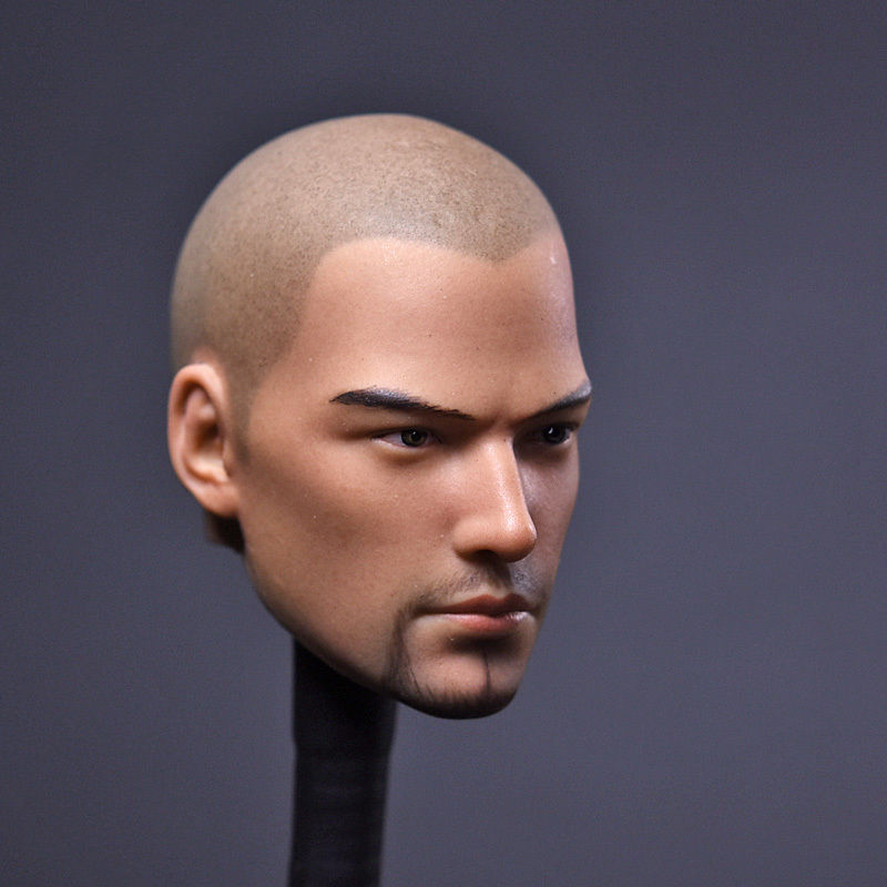 1/6Scale Monk Head Sculpt Asura Saint Monk Head Carving Bald <font><b>beard</b></font> version For 12 Inches Male Body Figure image