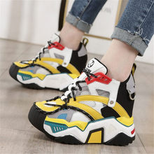 Tennis Trainer Shoes Women Real Leather Fashion Sneakers Breathable Chunky Traval Platform Wedge Boots Party Punk Goth Creepers