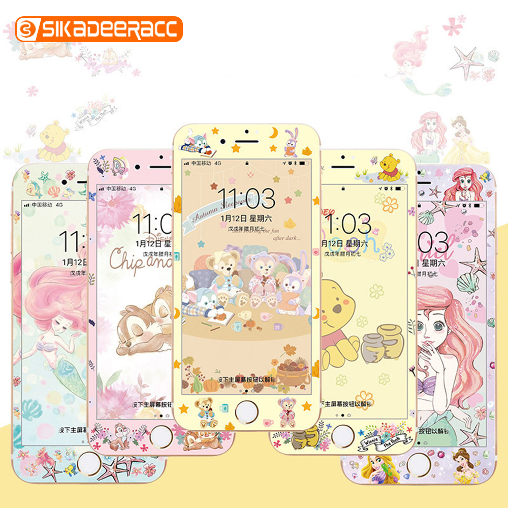 Full Cover Colorful Tempered Glass Screen Protector For iPhone 7 8 6 6s Plus Glitter Cartoon Edge Anti-explosion Protective Film