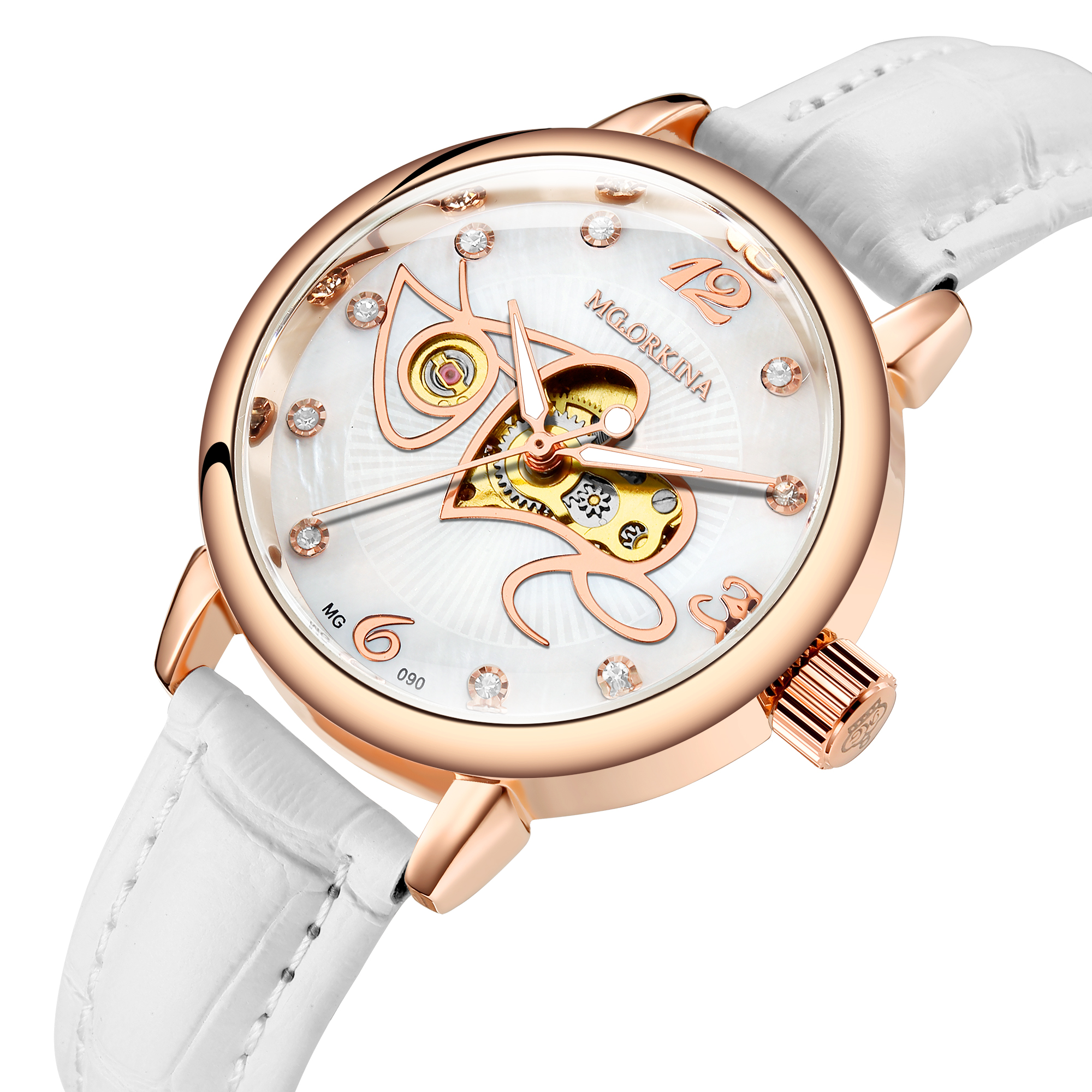 MG.ORKINA Leather Automatic Mechanical Watch Women Stainless Steel Dial  Sparkling Crystal Wrist Watches for Women Women's Watches     - title=