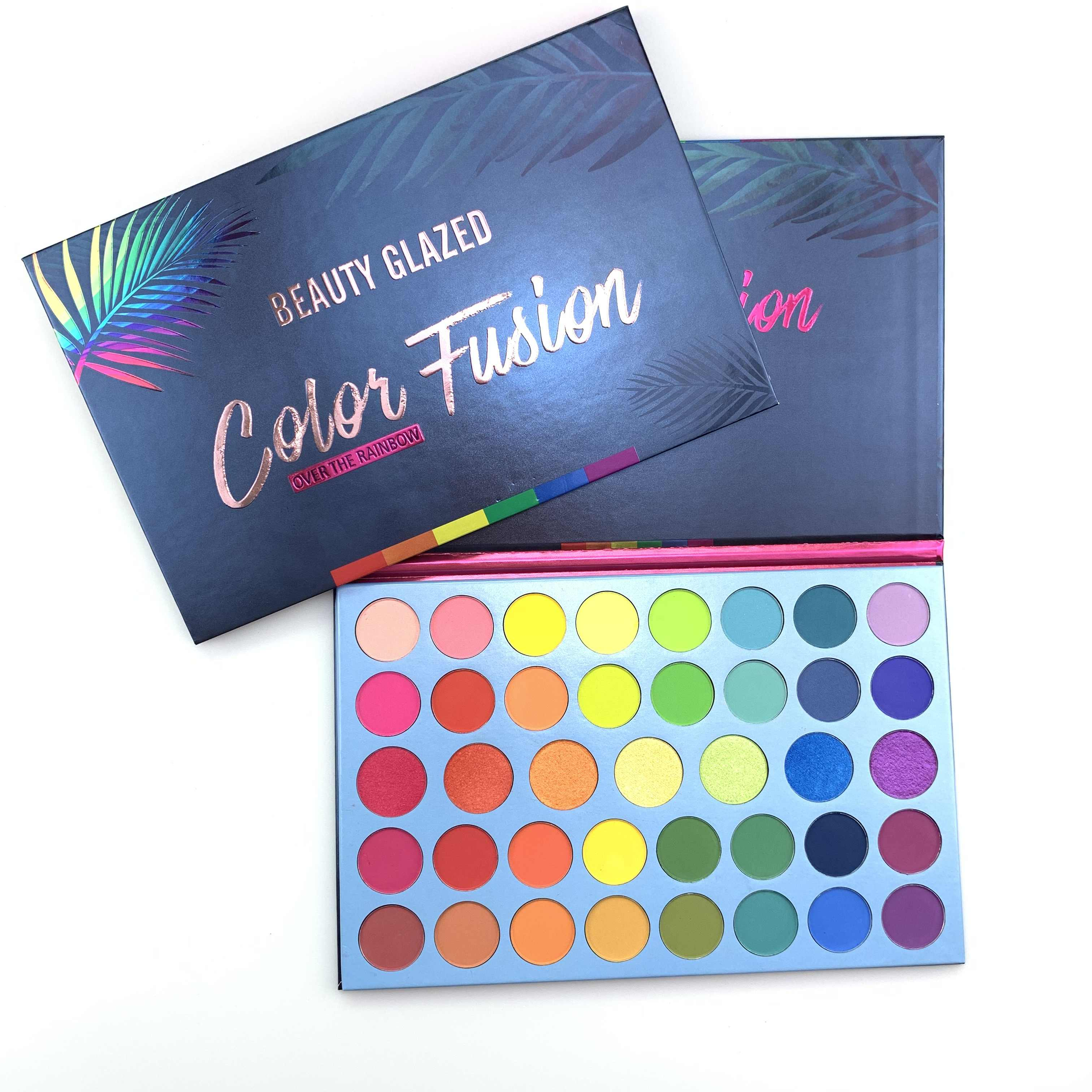 ความงามเคลือบ 39 สีGlitter Matte Eyeshadow PaletteเรืองแสงRainbow Disk Highlight Eyeshadow Palette Maquillage TSLM2