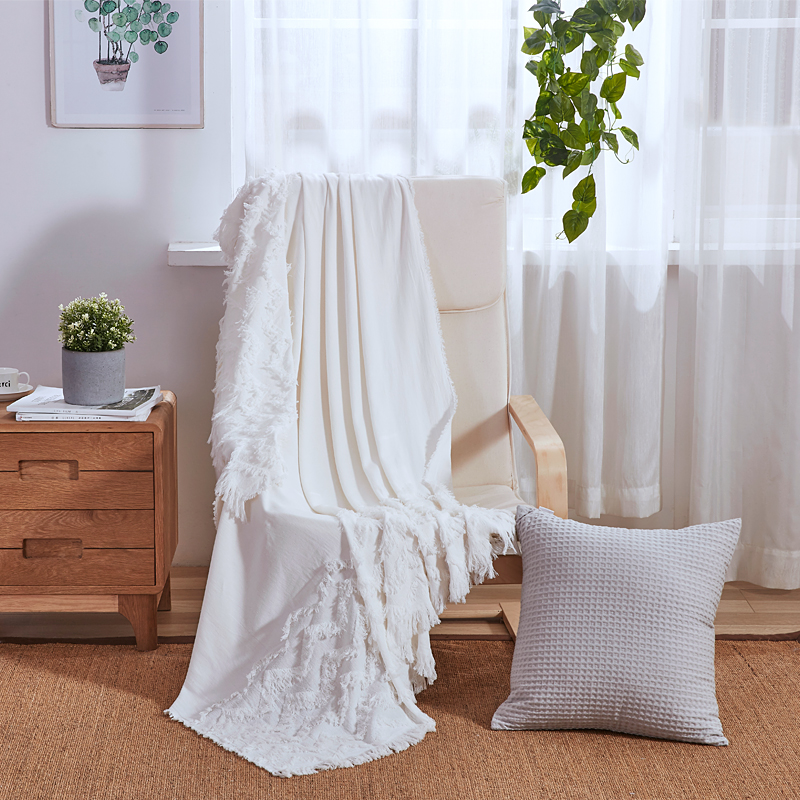 PHF Cotton Bed Throw Blanket Jacquard With Tassel Knitted Blanket White Blue Pink Decor Sofa Shawl For Home Nordic Bedspread(China)