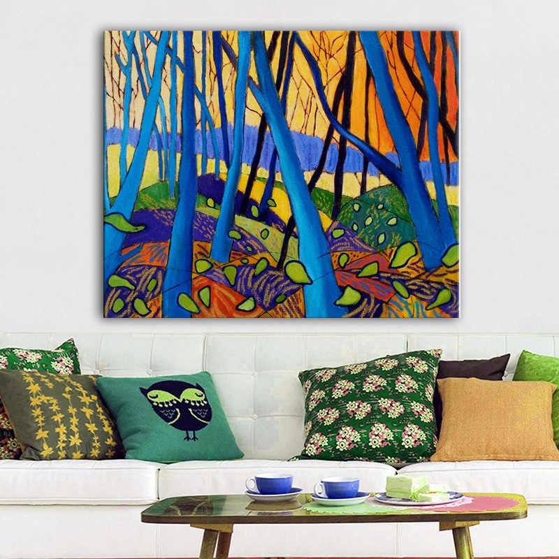 David Hockney Winter Trees Canvas painting Modern Pictures Canvas Print Poster For Living Room Wall Abstract Art Decoration