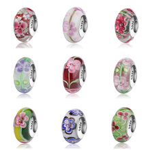 SG Aliexpress Murano glass beads sterling silver 925 diy colorful flower charms fit original pandora bracelets jewelry for gift стоимость