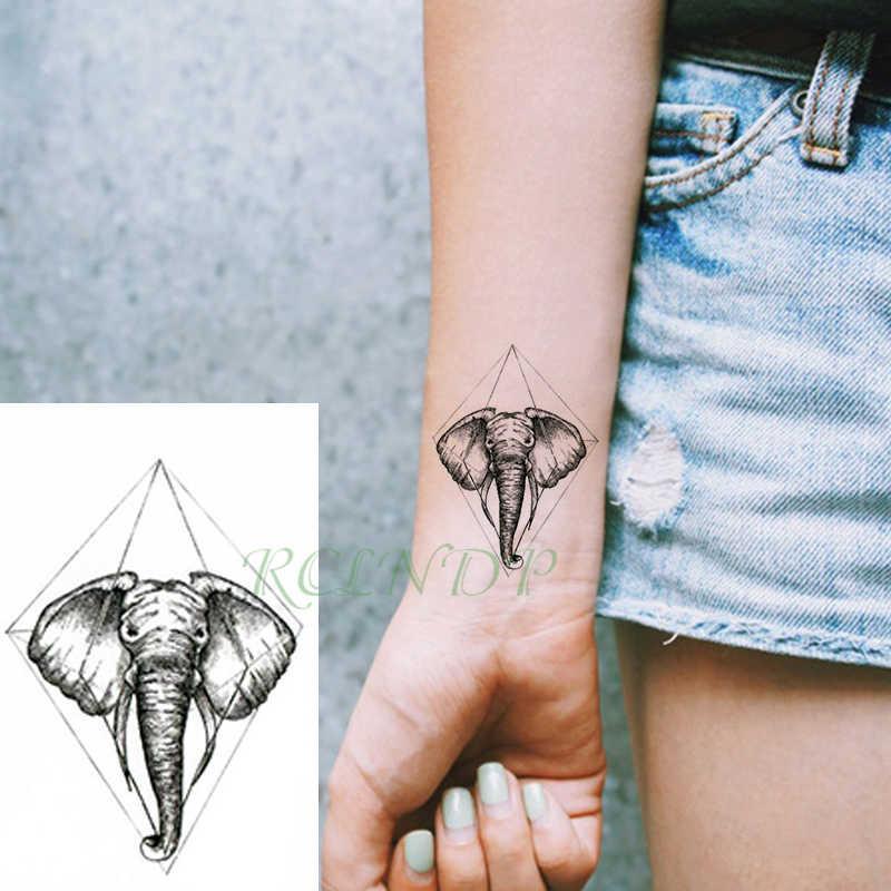 Waterdichte Tijdelijke Tattoo Sticker olifant lijn kleine Tatto Flash Tatoo Fake Tattoos Hand Been Arm voor Kinderen Mannen Vrouwen kind