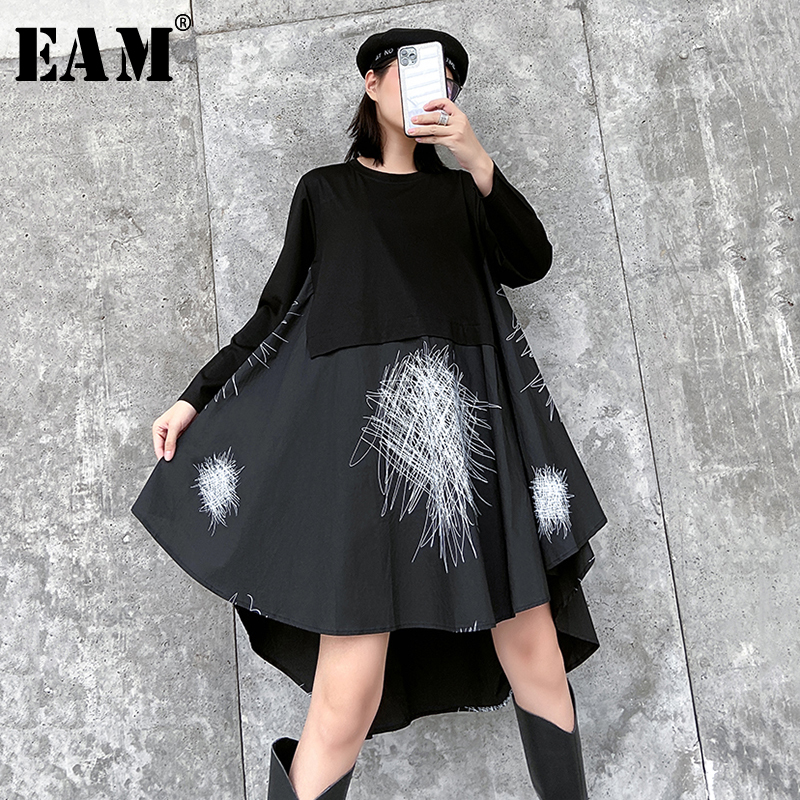 [EAM] Women Black Asymmetrical Pattern Big Size Dress New Round Neck Long Sleeve Loose Fit Fashion Tide Spring Autumn 2020 1R508