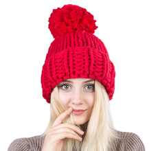 New handmade rough wool knitting big wool ball knitting hat  warm lady hemp hat цена в Москве и Питере
