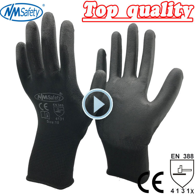 NMSAFETY 12 Pairs PU Work Gloves Safety Protection Gloves European Standard Size