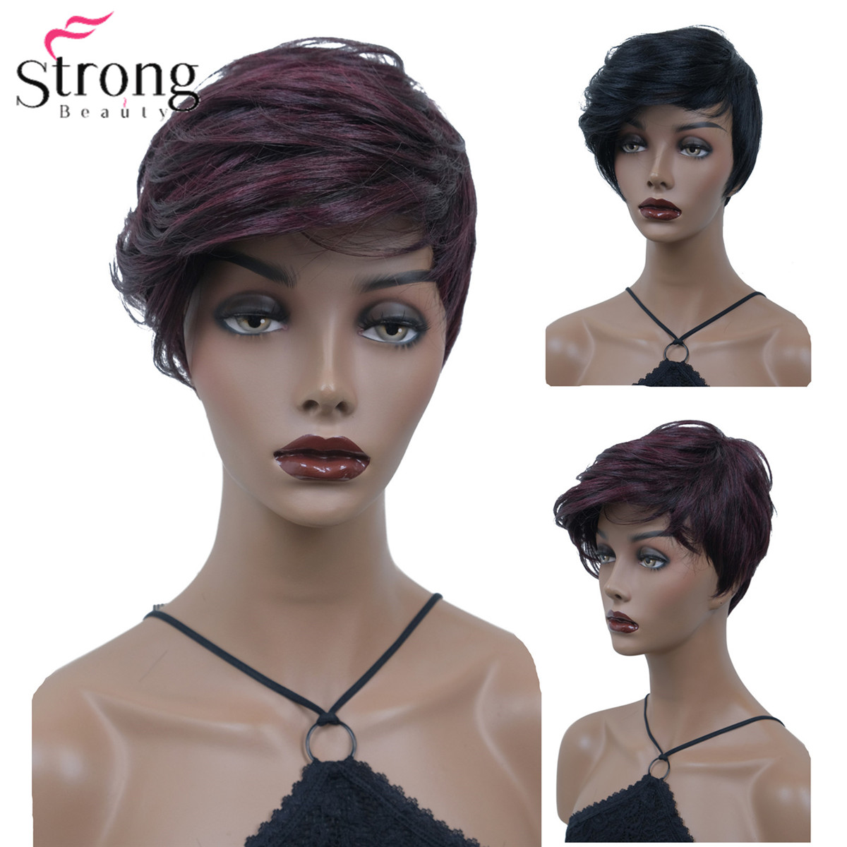 StrongBeauty Women's Short Wig Straight Hair Synthetic Black/Wine Red Natural Wigs Bob