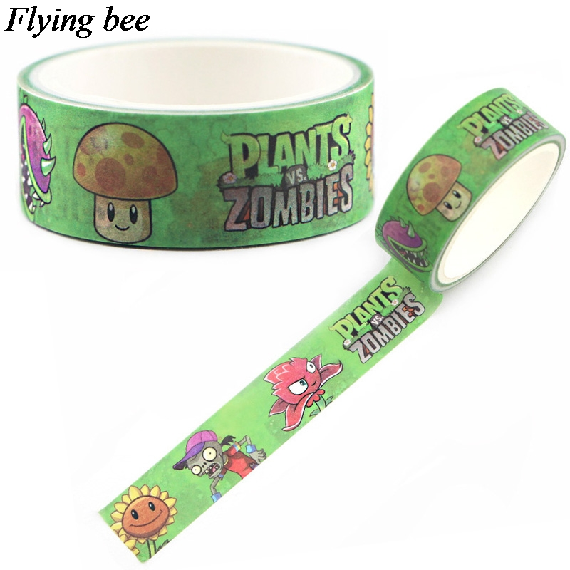 Flyingbee 15mmX5m Paper Washi Tape Plants Vs Zombies Adhesive Tape DIY Scrapbooking Sticker Label Masking Tape X0598