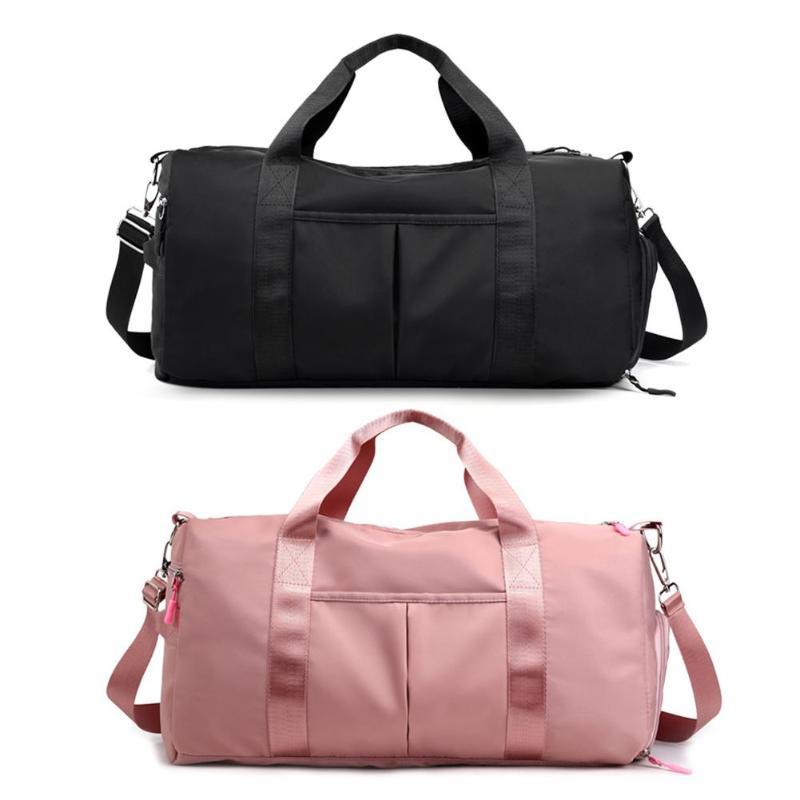 Bolso de hombro para Gimnasio Deportivo de viaje de nailon para hombres y mujeres, bolsos de nailon grandes impermeables, bolsos de deporte para exteriores de Color negro y rosa, novedad de 2019