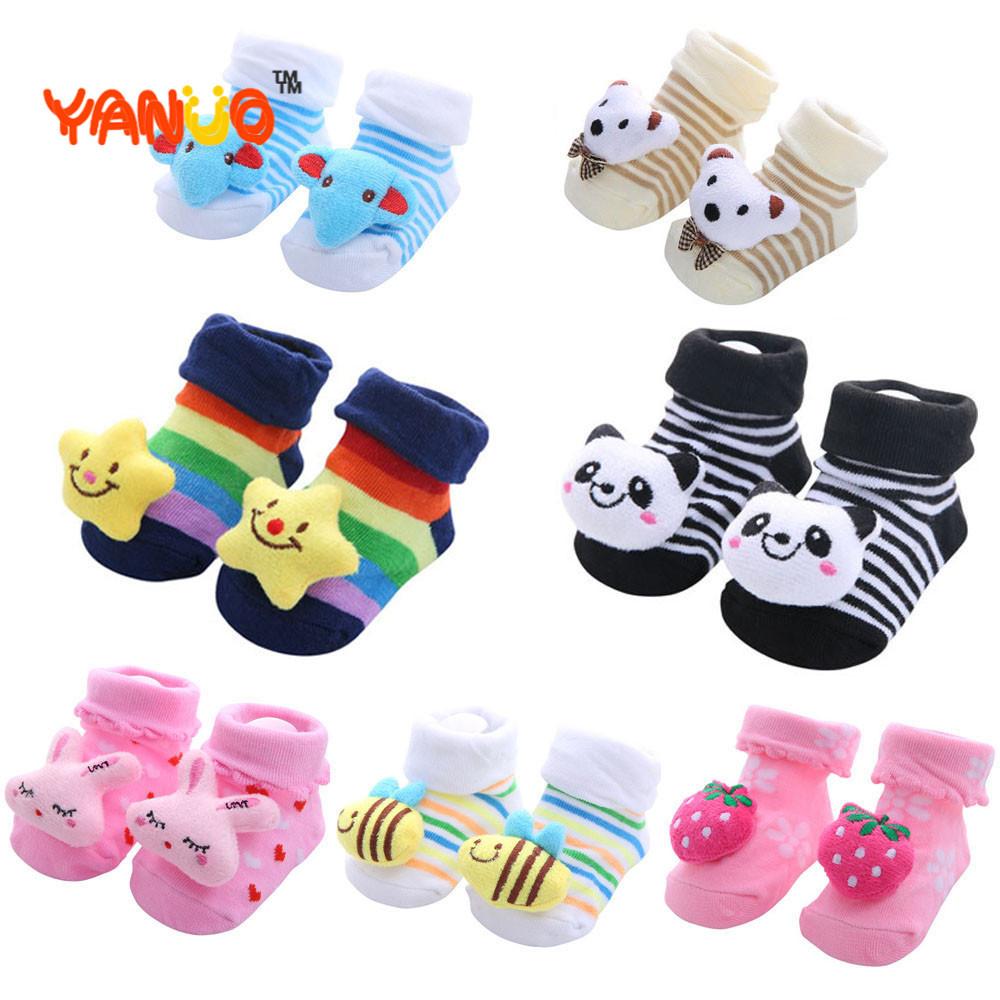 1 Pair Baby Boy Socks Cotton Baby Socks Rubber Anti Slip Boy Girl Floor Kids Toddlers Sock Spring Animal Infant Newborn Gift