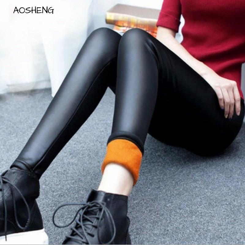 Plus Velvet Faux Leather Legging Women Winter Warm Legging Large Size Black Leggings Calzas Mujer Leggins Thick Fleece Sexy Y081