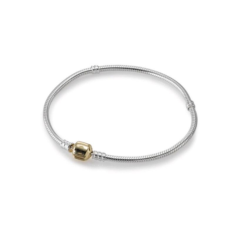 SHINETUNG Original PAN 1:1 S925 Steling Bracelet en argent Bracelet en or avec fermoir en forme de baril bracelets à breloques originaux pour femmes
