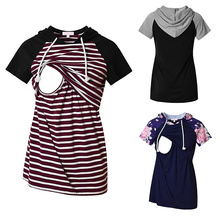 Striped Cotton Maternity Hoodies Women Breastfeeding Nursing Pregnancy Hoodie Womens Summer short sleeve Leisure Clothing