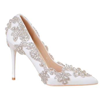 white pointed Glass slipper Wedding shoe Niang marriage Wedding dress Toast shoes birthday gift diamond princess Women's shoes