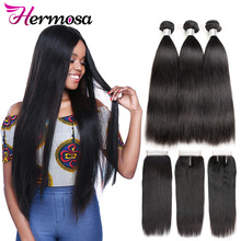 Hair-Bundles Closure Human-Hair Hermosa Straight Brazilian Double-Weft with Remy