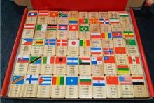 100 шт Национальный флаг домино строительные блоки деревянные