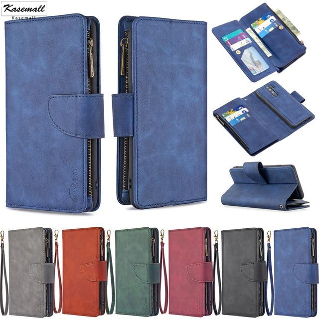 Zipper Flip Case For Xiaomi Redmi Note 7 8 Pro 9 Pro 8T 7A K20 Mi Note 10 CC9 Detachable Leather Magnet Wallet Stand Cover Coque