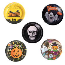 10pcs/lot Disposable Paper Plate Halloween Party Supplies Gold Black Cartoon Pumpkins Skulls Witch Table Decorations 17.5cm