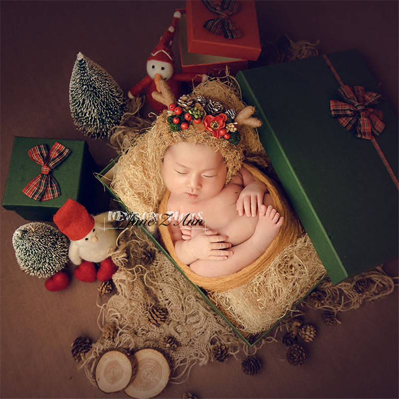 Jane Z Ann Newborn baby Christmas Elk Theme costume infant deer Photography Props studio shooting accessories 1