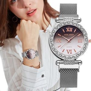 women Diamond watch Fashion Stainless Steel Band Women watch Magnet Buckle Gradient Roma Dial Quartz Watch Relogio Feminino