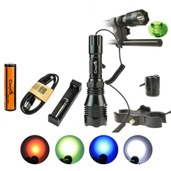 CrazyFire Tactical LED Flashlight 1000lm Super Bright Long Range Hunting Torch with Battery Charger Gun Mount Pressure Switch